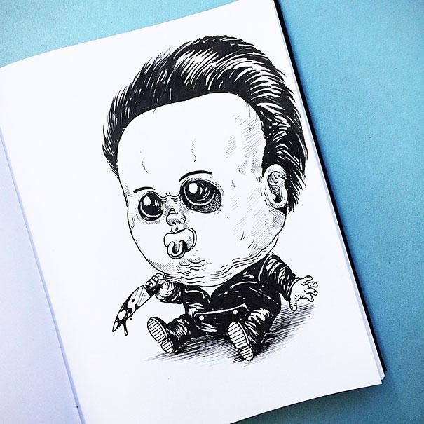 ホラー映画のヒーローたちを赤ちゃん化したらグロかわいくなった