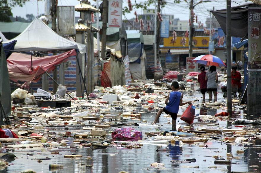 広東省の豪雨災害後の写真