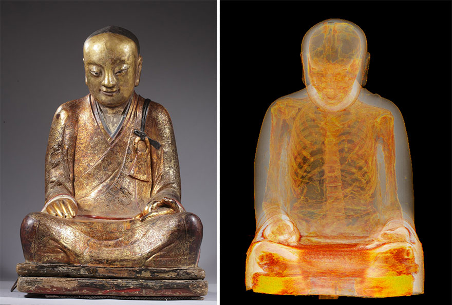 1100年前の仏像をCTスキャンしたらミイラ化した高僧が中に!!