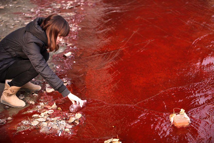 赤く汚染された水のサンプルを採るジャーナリスト。剣河県