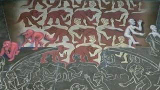 【目の錯覚】MCエッシャーのトリックアートをチョークで描く制作風景を早回しで【すごい】